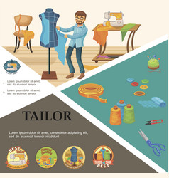 flat tailoring elements concept vector image