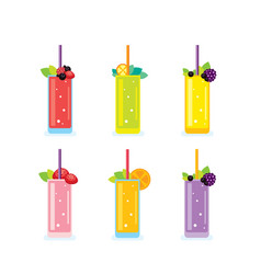 Fresh summer drinks smoothie and juice glasses vector