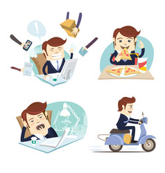 funny business man wearing suit eating pizza vector image