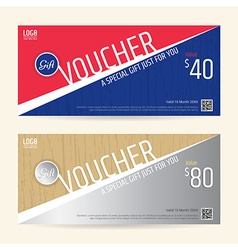 Gift Voucher Blue red silver wood texture sport vector