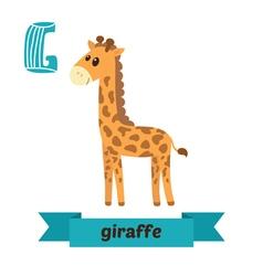 Giraffe G letter Cute children animal alphabet in vector