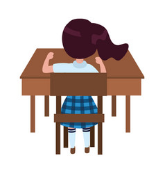 Girl kid school in desk design vector