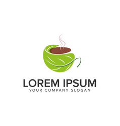 green coffee logo design concept template vector image
