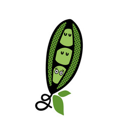 Green pod with cute peas vector