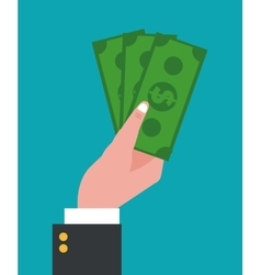 Hand holding bill money dollar vector