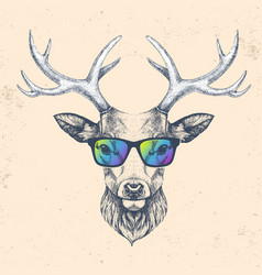 Hipster animal deer with glasses vector