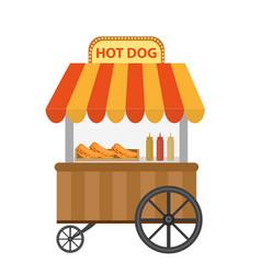 Hot dog street shop cart icon flat cartoon vector