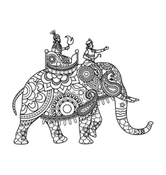 Indian maharajah on elephant coloring pages vector