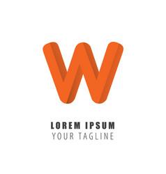 initial letter w logo material design flat line vector image