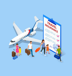 Insurance policy booking travel insurance vector