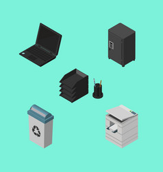 Isometric office set of strongbox garbage vector