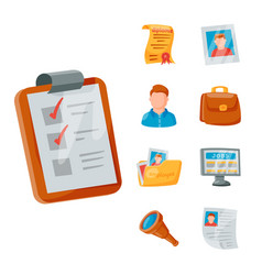 Job search icon set office concept human vector