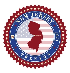 Label sticker cards of state new jersey usa vector