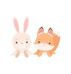 lovely little bunny and fox cub best friends vector image