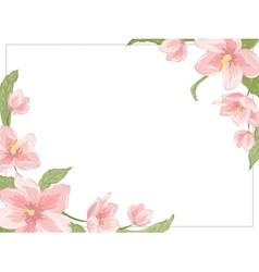 Magnolia sakura hellebore corner frame horizontal vector