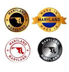 maryland badges gold stamp rubber band circle with vector image