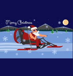 merry christmas bad santa claus on a aerosleigh vector image