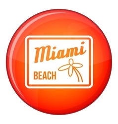 Miami beach icon flat style vector