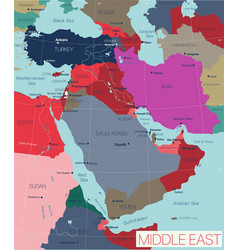 Middle east region detailed editable map vector