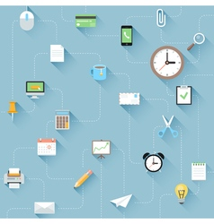 Modern flat office icons set with long shadows vector