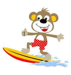 monkey the surfer cartoon vector image