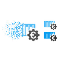 moving pixel halftone euro barcode setup icon vector image