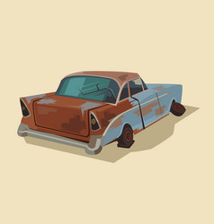 Old rusty broken car vector