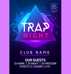 Party music poster night dance invitation trap vector