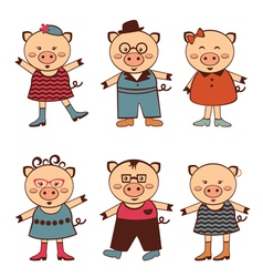 Pigs fashion vector