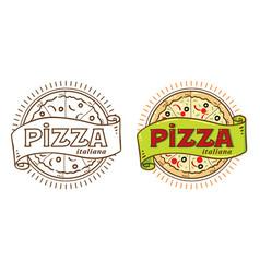 pizza vintage logo vector image