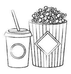 pop corn with soda vector image