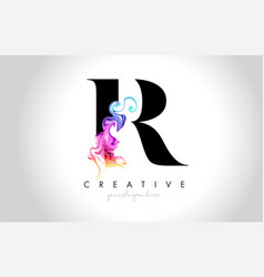 r vibrant creative leter logo design with vector image