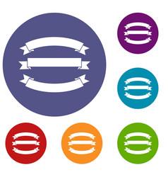 Ribbons icons set vector