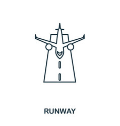 runway icon outline thin line style from airport vector image