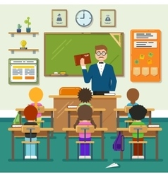 School classroom with schoolchild pupils and vector
