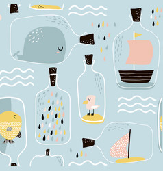 Seamless pattern with hand drawn sea jar with vector
