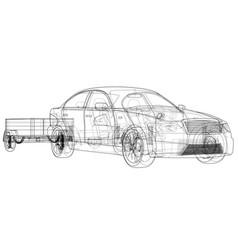 sedan with open trailer sketch vector image