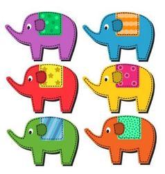 Set multi-colored elephants vector