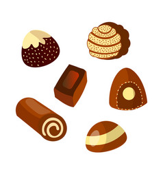 Set of chocolate candies isolated on white vector