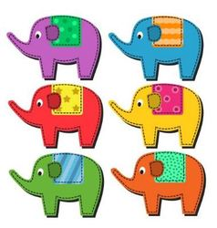 Set of multi-colored elephants vector