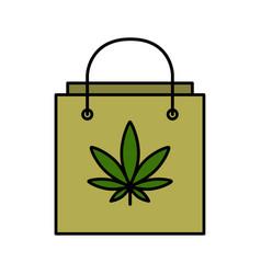 Shopping bag with marijuana leaf vector