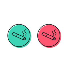 smoking area line icon cigarette sign vector image
