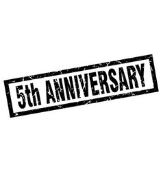 Square grunge black 5th anniversary stamp vector