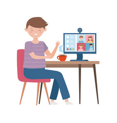Stay at home education online boy with computer vector