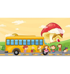 Students playing near the school bus vector