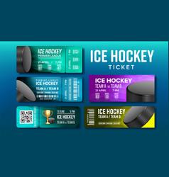 Stylish design ice hockey game tickets set vector