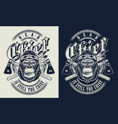 T-shirt print with gorilla concept vector