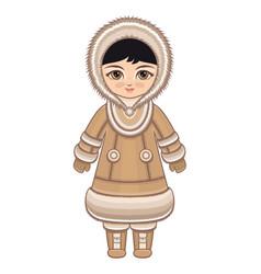 The girl in chukcha dress vector