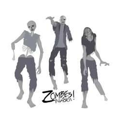 Three zombie characters walking forward vector