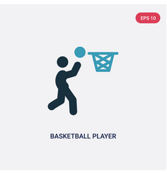 Two color basketball player scoring icon from vector